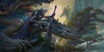 Обои Warrior with Dragon / Воин с драконом, by Russell Dongjun Lu