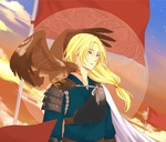 Обои Soo-won / Су-вон в доспехах с коршуном на плече на фоне развивающегося флага и неба из аниме Akatsuki no Yona / Рассвет Йоны, art by Mizuho Kusanagi