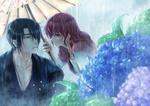 Обои Yona / Йона и Hak Son под зонтов в дождь возле цветущей гортензии из аниме Akatsuki no Yona / Рассвет Йоны