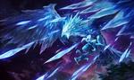 Обои Криофеникс Анивия / Anivia из игры Лига Легенд / League of Legends / LoL, атакует своими ледяными перьями
