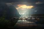 Обои Стоянка яхт у причала на фоне гор, Austria / Австрия, фотограф Федоров Константин