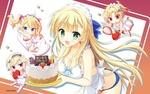 Обои Длинноволосая девушка в фартуке держит в руках поднос с именинным тортом, рядом три чибика