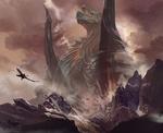 Обои Воин на драконе пролетает около огромного дракона среди скал, by Bayard Wu