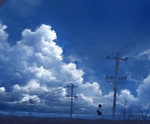Обои Школьница стоит возле реки на фоне облачного неба, by Axle