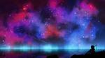 Обои Девушка сидит на берегу под ночным небом с разноцветной туманностью, by kvacm