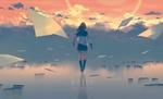 Обои Девушка в школьной форме стоит на зеркальной поверхности среди облаков, by goroku (A STEP)