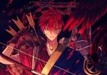 Обои Сейджуро Акаши / Seijuro Akashi из аниме Баскетбол Куроко / Kuroko no Basuke в кимоно, с луком и стрелами, с каплями крови на щеке
