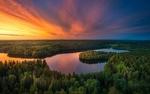 Обои Красивый закат над рекой и лесами в Финляндии