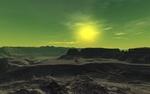 Обои Тусклое солнце над бескрайним горным ландшафтом
