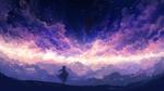 Обои Девушка с рожками стоит на фоне облачного неба