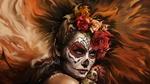 Обои La Catrina / Катрина с розами в волосах, макияжем на лице, в стиле Santa Muerte / Святая Смерть и куклой Вуду в руках, by Karolina Klein