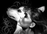 Обои Девушка и волк на темном фоне с узором, by Karolina Klein