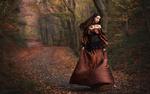 Обои Девушка в старинном коричневом платье на дороге, среди осеннего леса, фотограф Мария Йылмаз