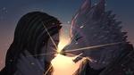 Обои Темноволосая девушка и парень-волк в лучах заходящего солнца