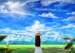 Обои Девушка в белом платье и шляпе стоит на фоне облачного неба