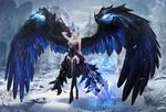 Обои Девушка-ангел стоит у входа в крепость среди зимнего леса, из игры Era of angels / Эра ангелов, by Sis