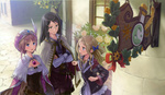 Обои Rororina Friwell, Culeria Von Feuerbach и Astrid Zxes стоят на улице возле дома с вывеской, из игры Atelier Rorona, art by Mel Kishida