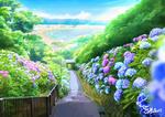 Обои Лестница, по бокам которой цветет гортензия, by sachiko15