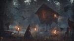 Обои Баба-Яга с метлой стоит ночью в лесу возле избушки на курьих ножках, вокруг летают вороны и горят факелы, by Evgenij Kungur
