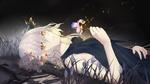 Обои Девушка с цветком в руке лежит ночью втраве, персонаж из аниме и игры Судьба / Великий приказ / Fate / Grand Order: First Order
