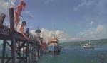 Обои Девочки прыгают с мостков причала на реке в солнечный летний день, неподалеку два катера
