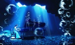 Обои Девушка играет на рояле под водой