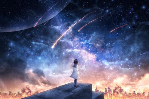 Девочка, одетая в школьную форму, смотрит на город, стоя на фоне ночного неба и падающих звезд, by CZY