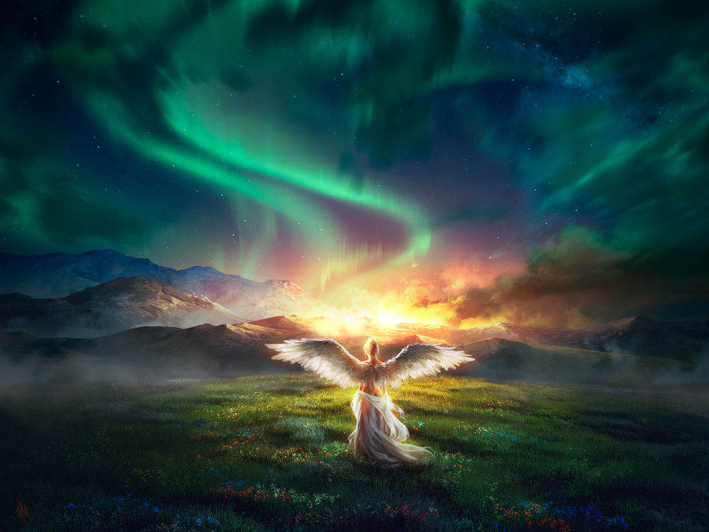 Обои для рабочего стола Девушка - ангел стоит на фоне северного сияния, by Tira-Owl