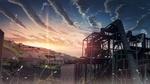 Обои Медузы парят в воздухе на фоне закатного неба