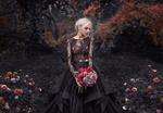 Обои Модель Валерия в длинном платье с букетом цветов в руках, фотограф Damien Prokhorov