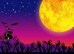 Обои Громадная Луна над замком с летучими мышами, хэллоуин, by Annalise Batista