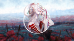 Обои Белокурый демон с цветком на фоне макового поля, by Mihoko