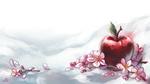 Обои Цветки сакуры и красное яблоко, by Anoushka Russell