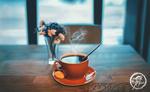 Обои Чашка кофе на блюдце и цветы в вазе на столе, by Ricardo Jair CG