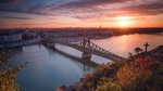Обои Мост через реку в городе Будапешт / Budapest, Венгрия / Hungary