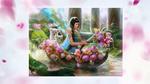 Обои Девушка в лодке с родовыми цветами и тигрятами, by Inna Vjuzhanina