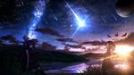 Обои Две девушки стоят под небом с млечным путем и падающими звездами
