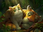 Обои Рыжий кот с зелеными глазами и тигр рядом, by Crazy JN