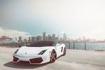 Обои Белый Lamborghini на фоне города
