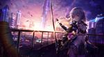 Обои Девушка с мечом на крыше здания в городе будущего, автор Chopped / Chyopeuteu