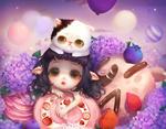 Обои Маленькая эльфийка с котенком на голове среди сладостей и цветов гортензии