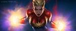 Обои Captain Marvel-Carol Danvers / Капитан Марвел-Кэрол Денверс-Суперженщина из комиксов Marvel / Марвел, by jeehyung