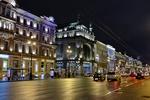 Обои Залитый огнями ночной Невский проспект, Санкт-Петербург