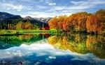 Обои Осенние деревья у пруда под облачным небом