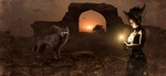 Обои Волшебница, колдующая на закате, рядом волк, руины на заднем плане, в небе летучие мыши, by Stefan Keller