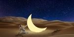 Обои Девушка в белом в пустыне ночью касается светящегося месяца, на заднем плане звездное небо, by Jan Rye Kristensen