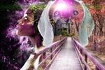 Обои Девушка-негритянка, голова собаки, на фоне ночного неба и мостика, ведущего к домику в осеннем лесу, фантасмагория, by Cari R