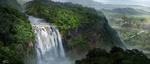 Обои Пейзаж природы с водопадом, панорамный вид, by jeremy chong