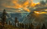 Обои Вид на вершины гор во время заката, Йосемитский национальный парк