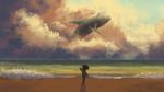 Обои Фантастический парень стоит у моря с китом в облаках, by Серхио Мартин